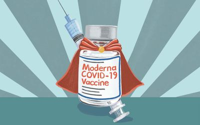 vial of moderna booster vaccine with super hero cape