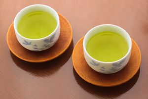 two cups of green tea