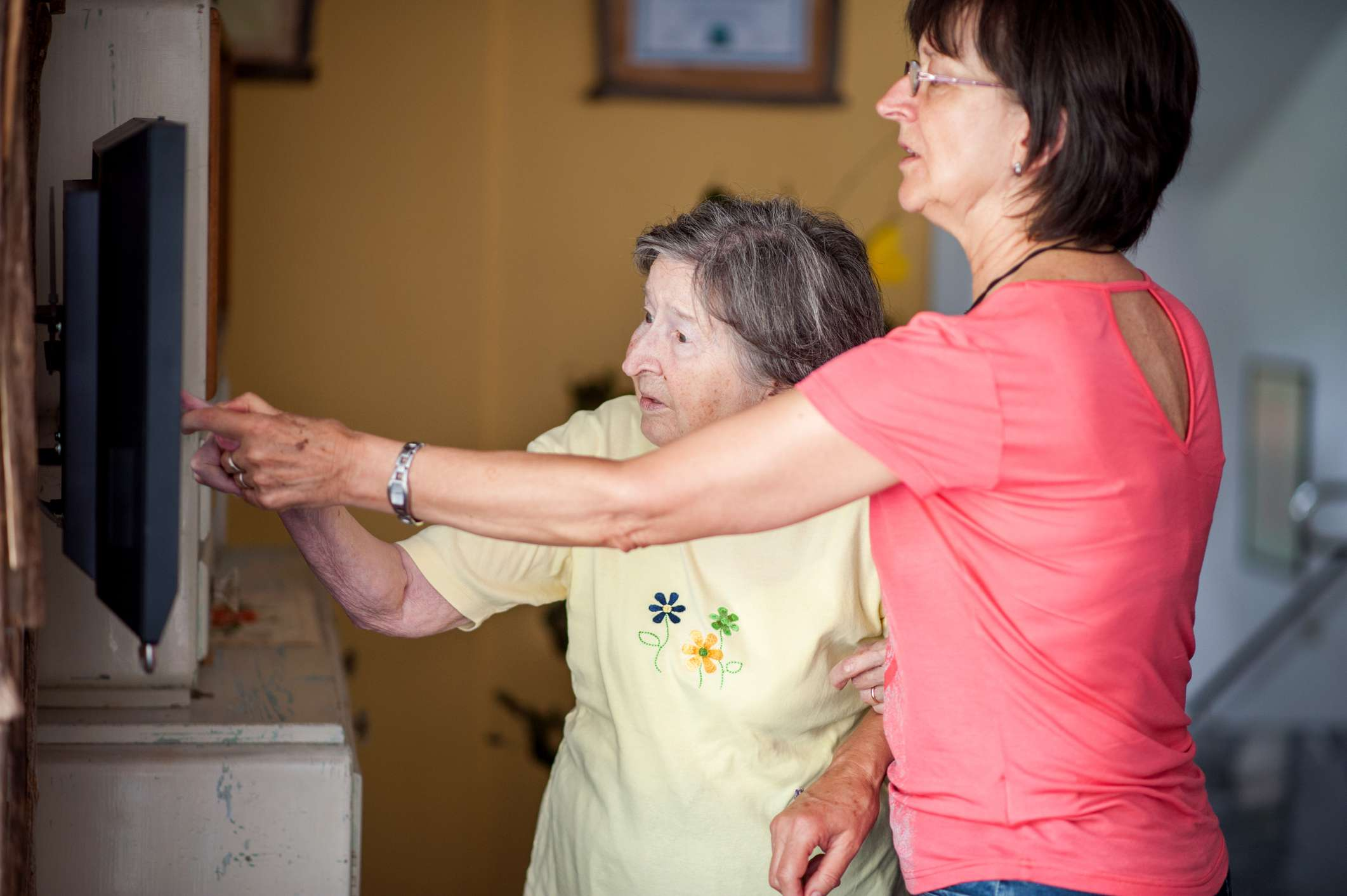 A woman receiving at home healthcare