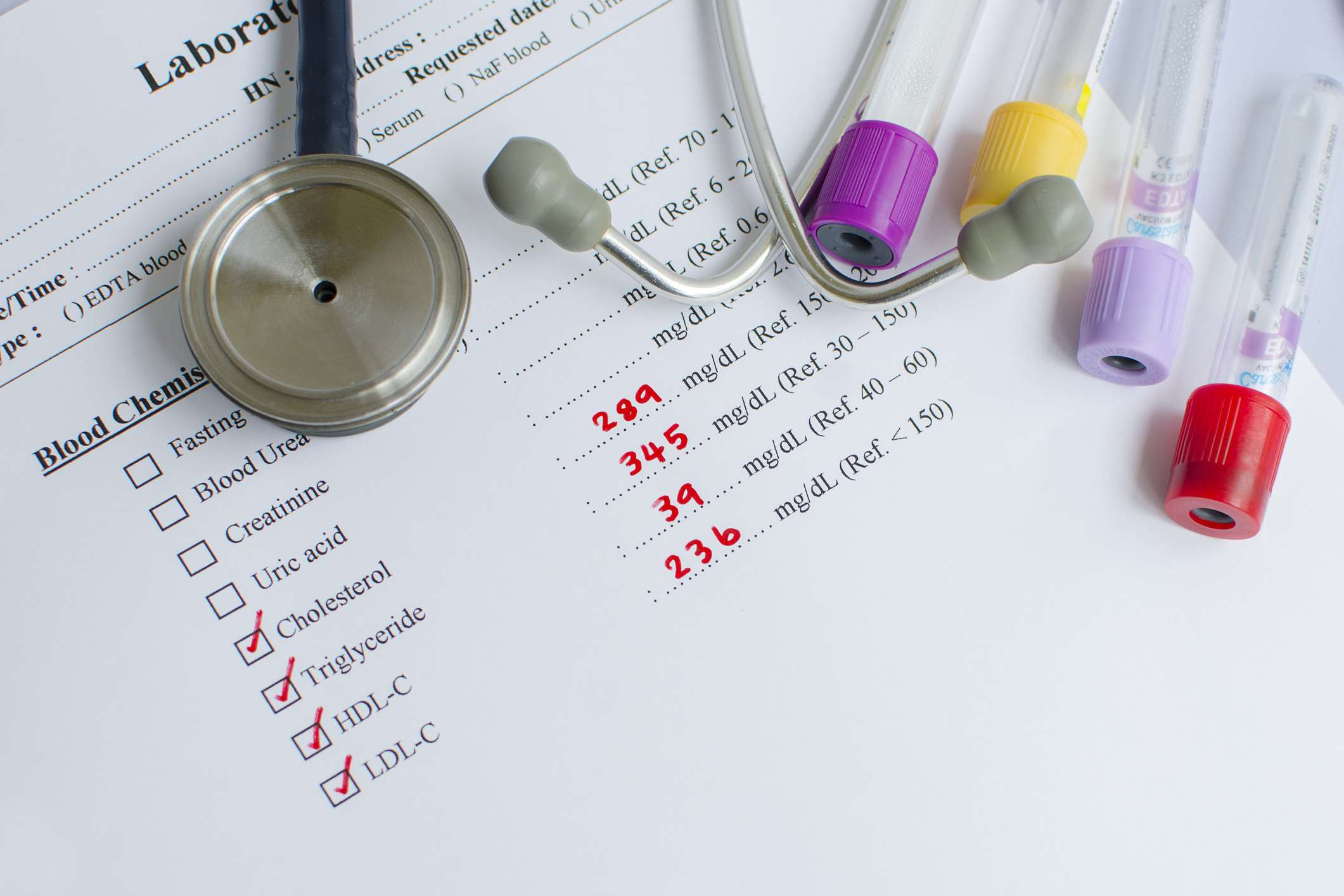 LDL cholesterol testing form and vials