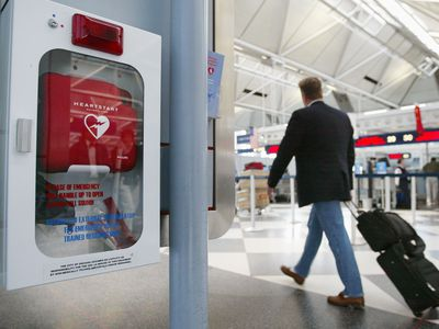 defibrillator on the wall at an airport