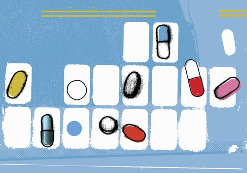 illustration of pills in small white boxes
