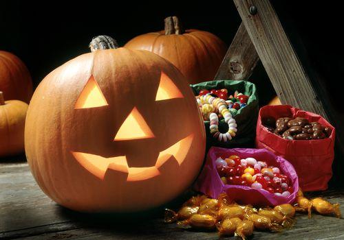 Halloween Candy with a jack-o-lantern