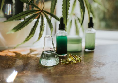 A variety of CBD products including topical and oral formulations