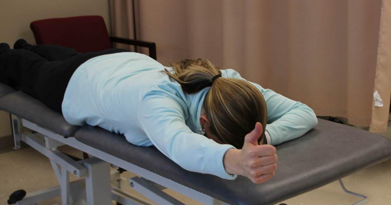 "The prone ""I"" scapular stabilization exercise."