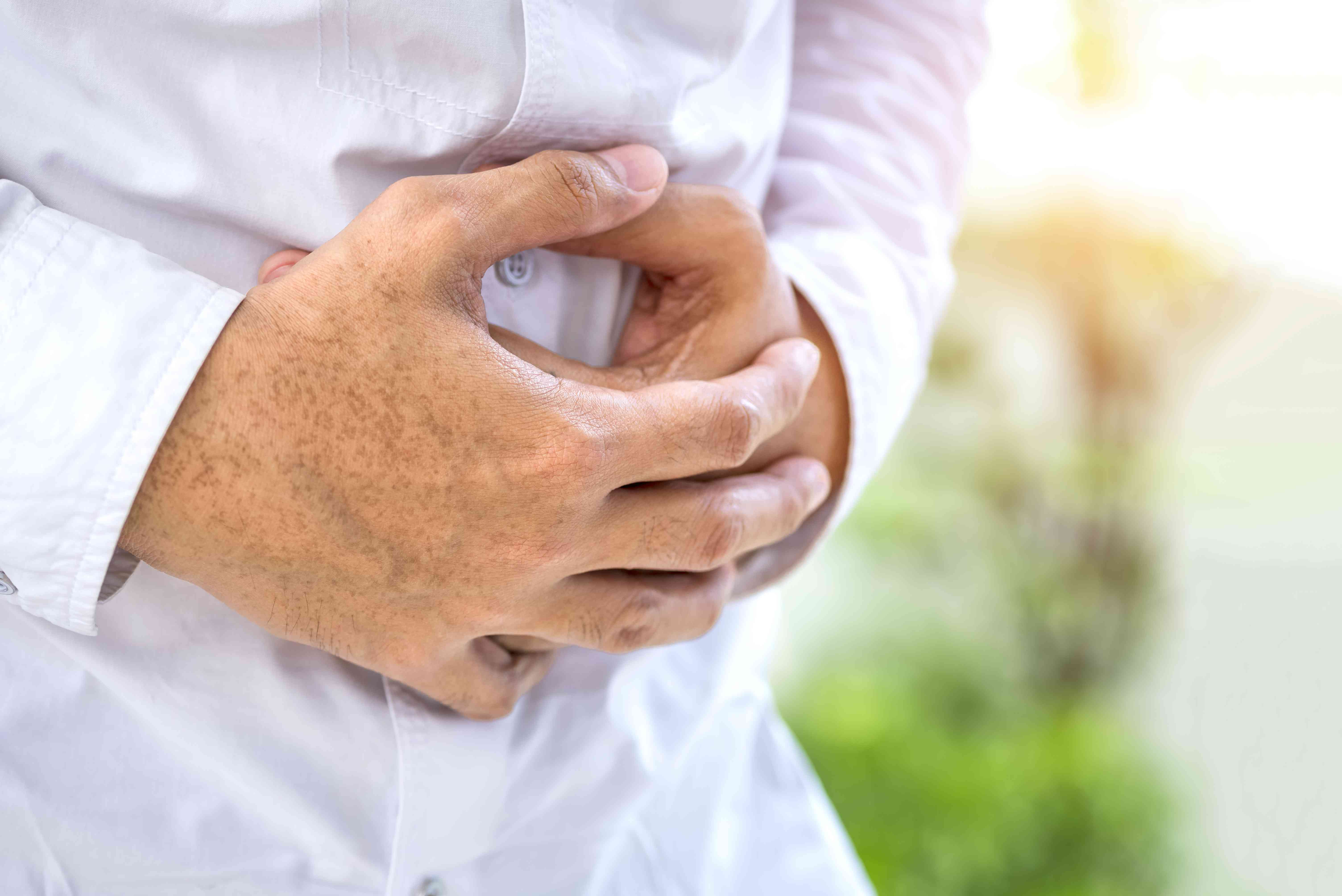 A man with stomach pain