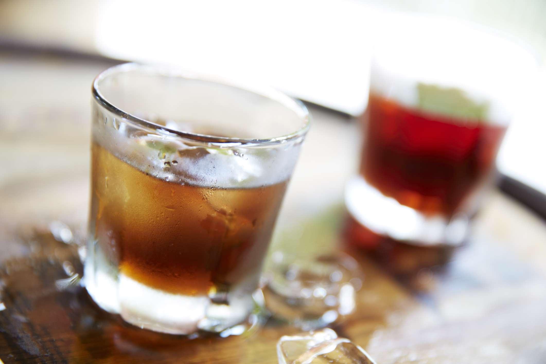 Scotch bourbon whiskey drink cocktail on bar