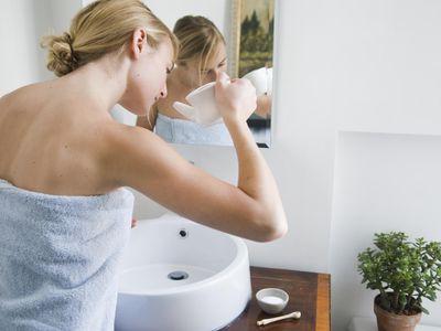 Woman getting ready to use a neti pot