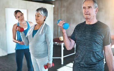 Seniors weight training
