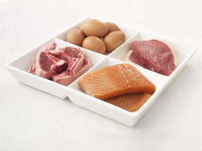 Plate with eggs, pork, salmon, and steak