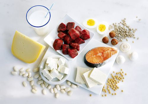 Multiple sources of protein sitting on a table