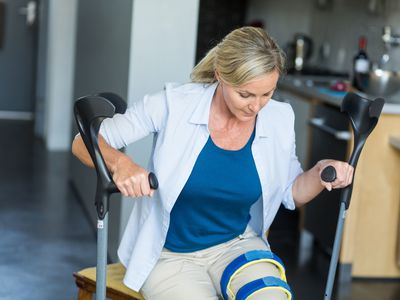 Woman recovering from knee surgery