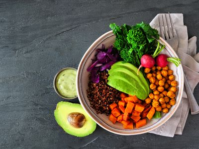 Beautiful bowl of plant based foods