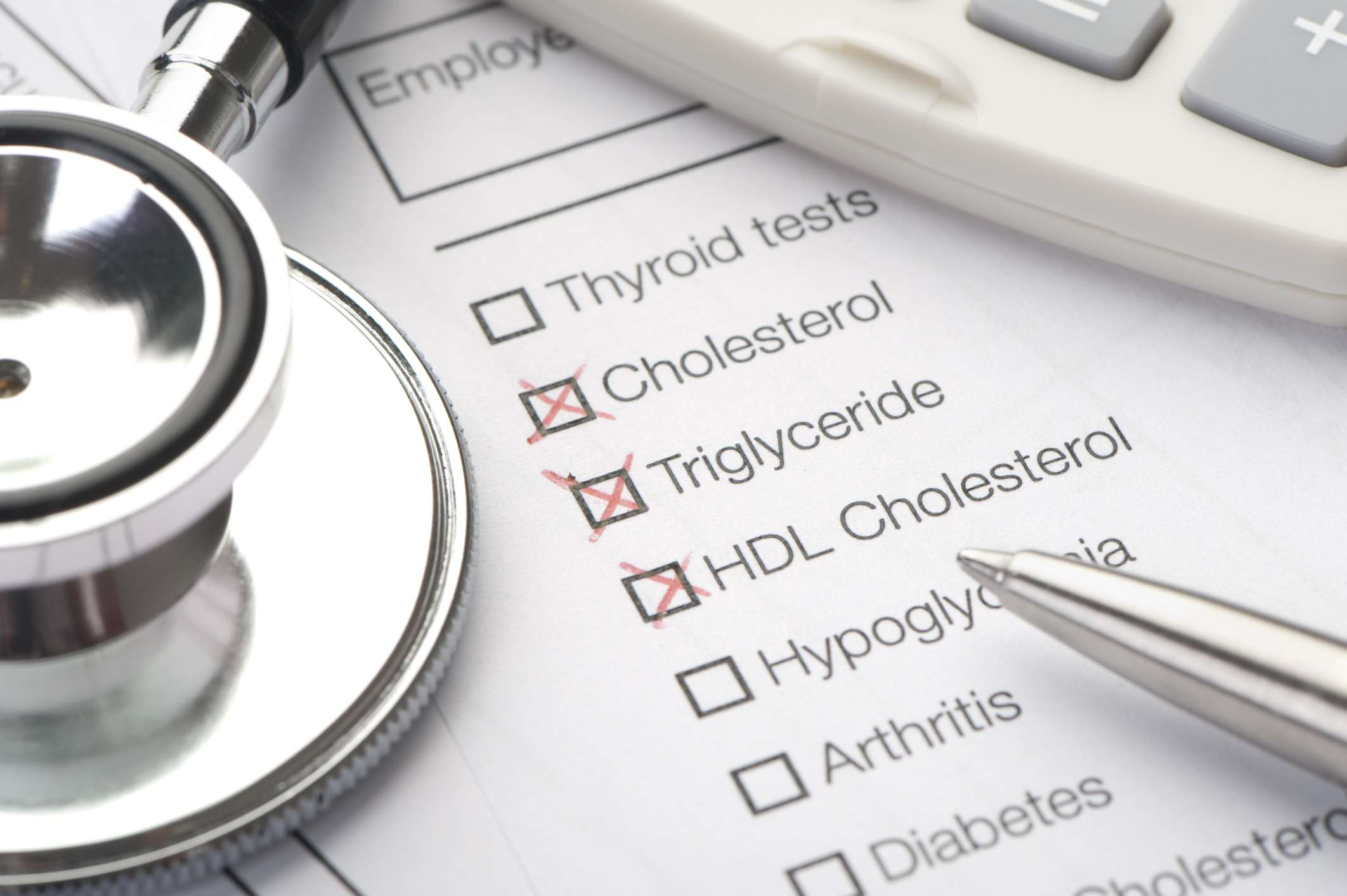 medical form with cholesterol and triglyceride lab tests checked