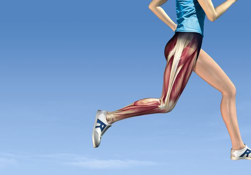 Woman running with hip muscles exposed