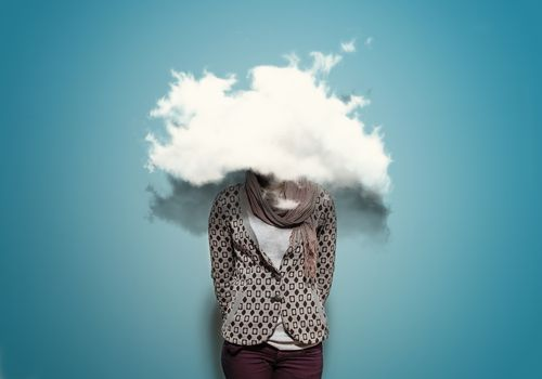 Woman with cloud over her head.