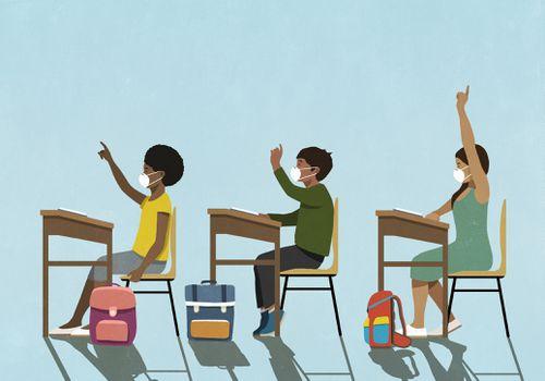 Children wearing masks at school.