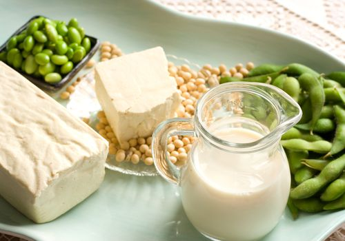 Soy products containing isoflavones - edamame, soy milk, and tofu