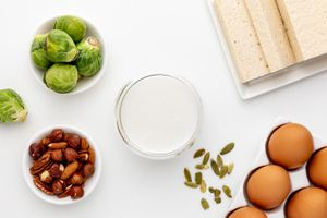 Brussel sprouts, milk, nuts, tofu, and eggs