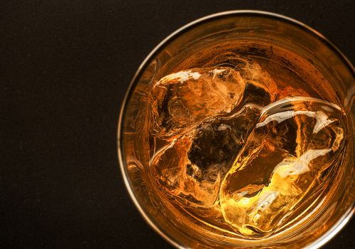above shot of Whiskey in a glass
