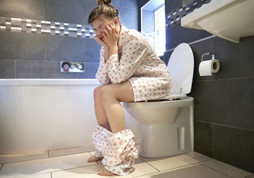 Woman with constipation.