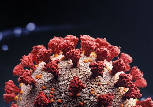 close up of COVID-19 virus.
