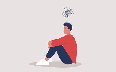 Illustration of young man struggling mentally.