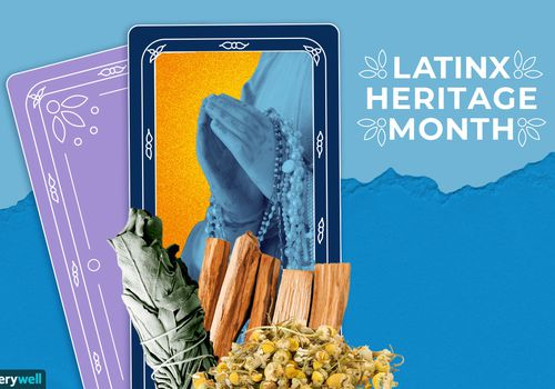 Latinx heritage month prayer cards and herbs.
