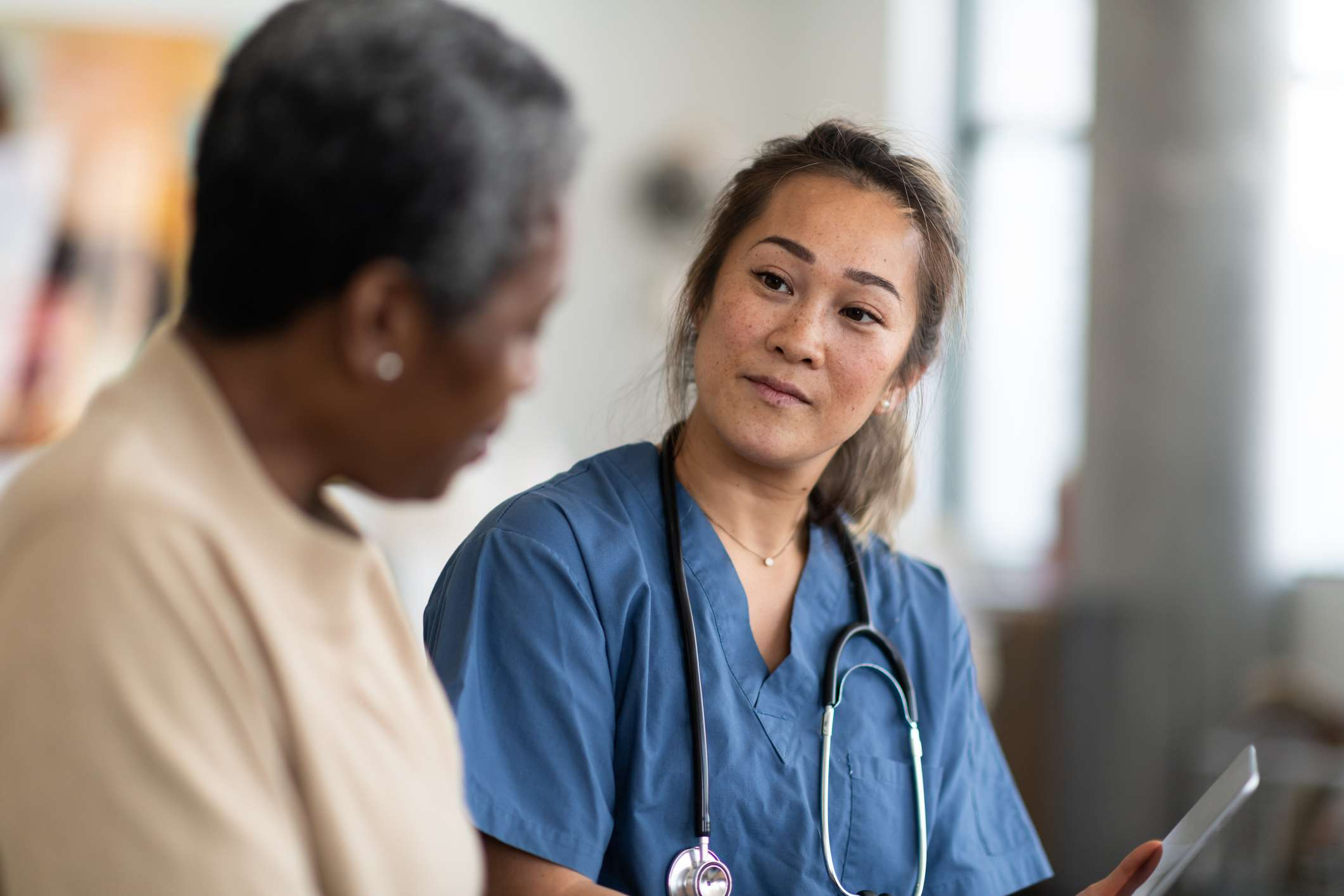 Doctor discusses valsartan with patient