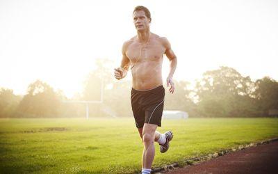 man jogging without a shirt