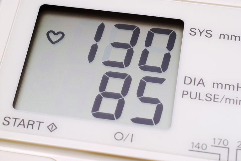 Reading on a digital blood pressure monitor