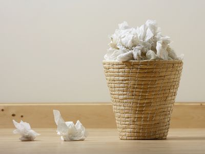 waste basket with used tissues