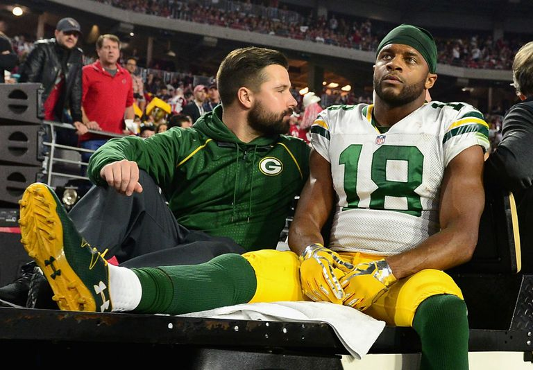 Randall Cobb is taken from the field with an injury in Green Bay's 2015 NFC playoff loss at Arizona.