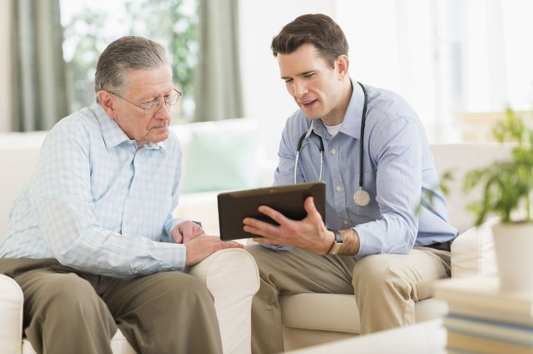 Senior man talking with a doctor
