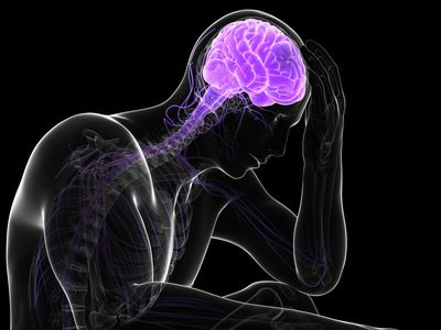 illustration of a man holding his head with the brain and spine highlighted