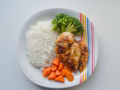 High Angle View Of Chicken And Rice In Plate Against White Background
