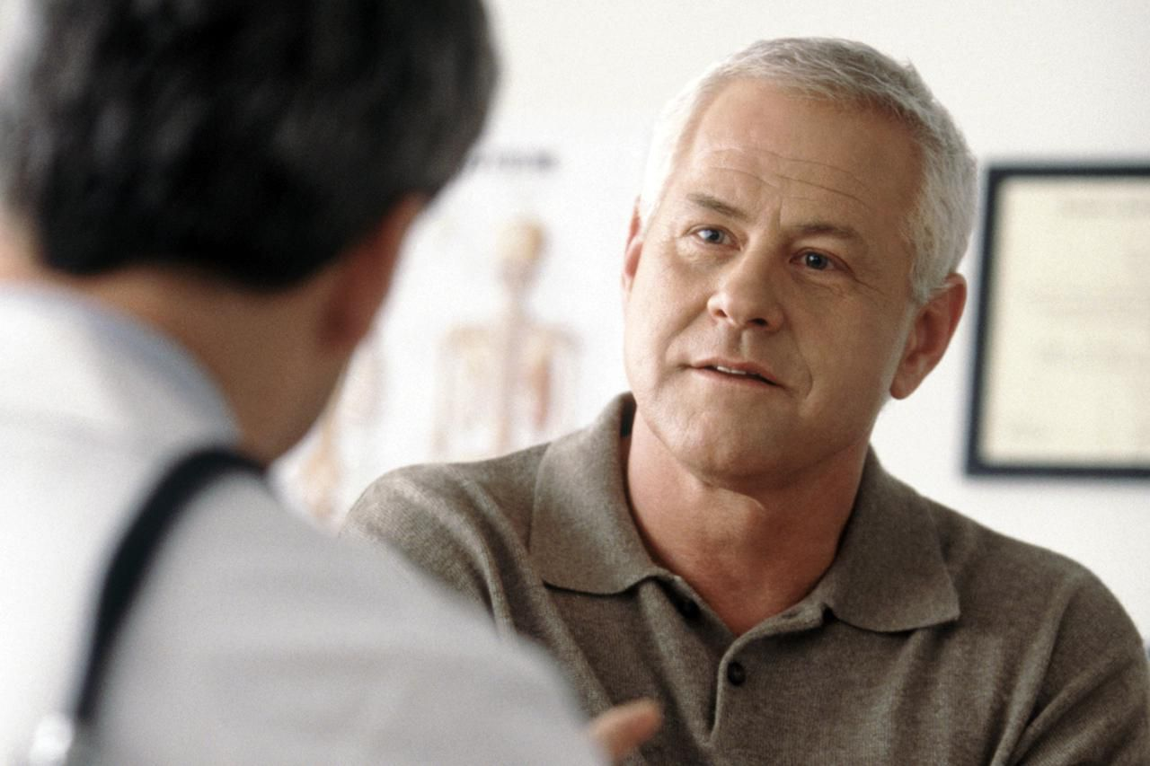 Doctor talking to patient about BPH