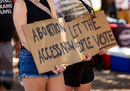 Abortion access now protest sign.