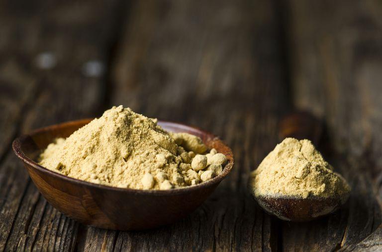 Ginger powder on a cutting board
