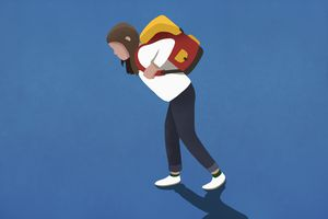 Girl bogged down by heavy backpack - stock illustration.