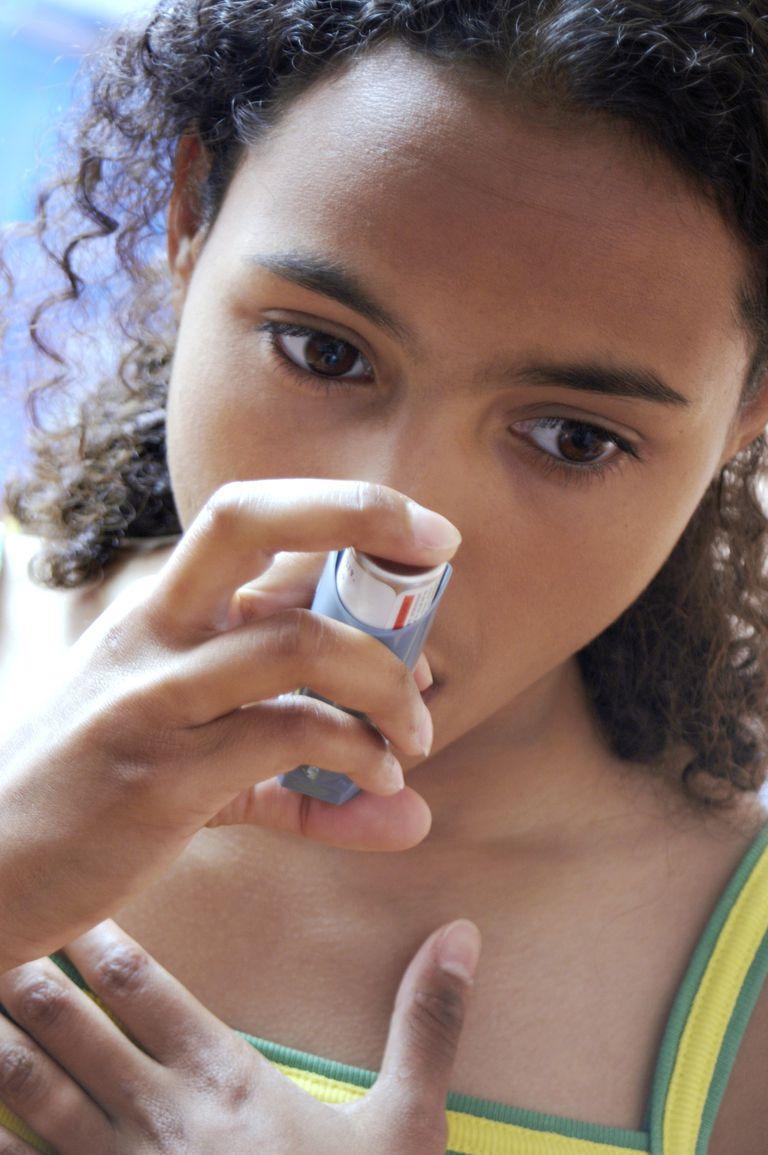 Using asthma inhaler