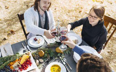 drinking wine outdoors in autumn