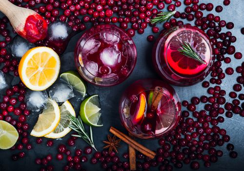 Cranberry juice and cranberries