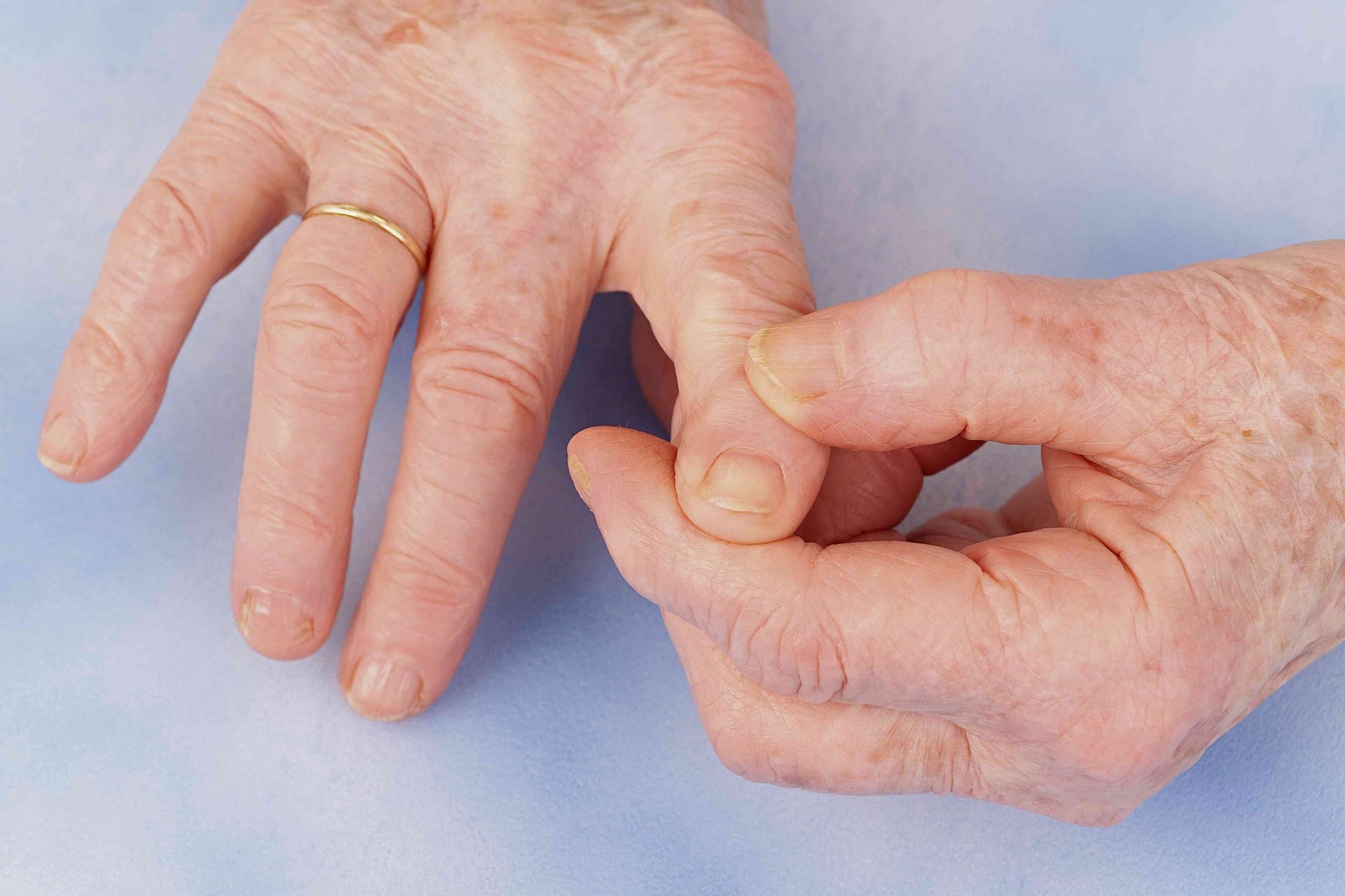 Close up of an older person's hands