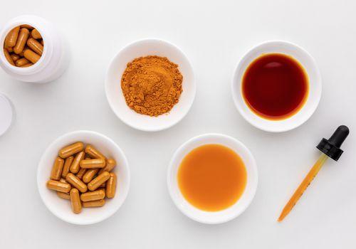 Turmeric capsules, powdered spice, spice, tinctures