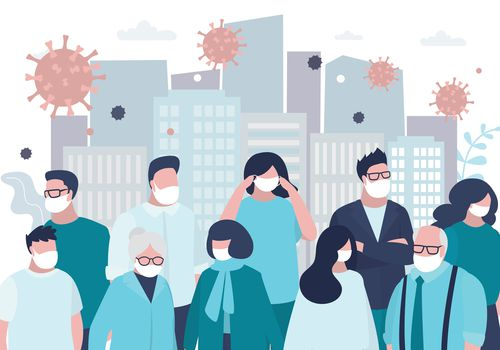 Illustration of crowd wearing masks with COVID-19 virus particles in the air and a city backdrop.