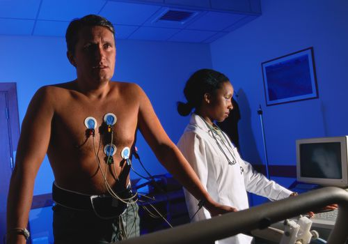 man having a cardiac stress test