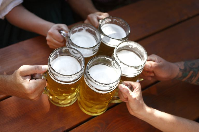 Group drinking beer