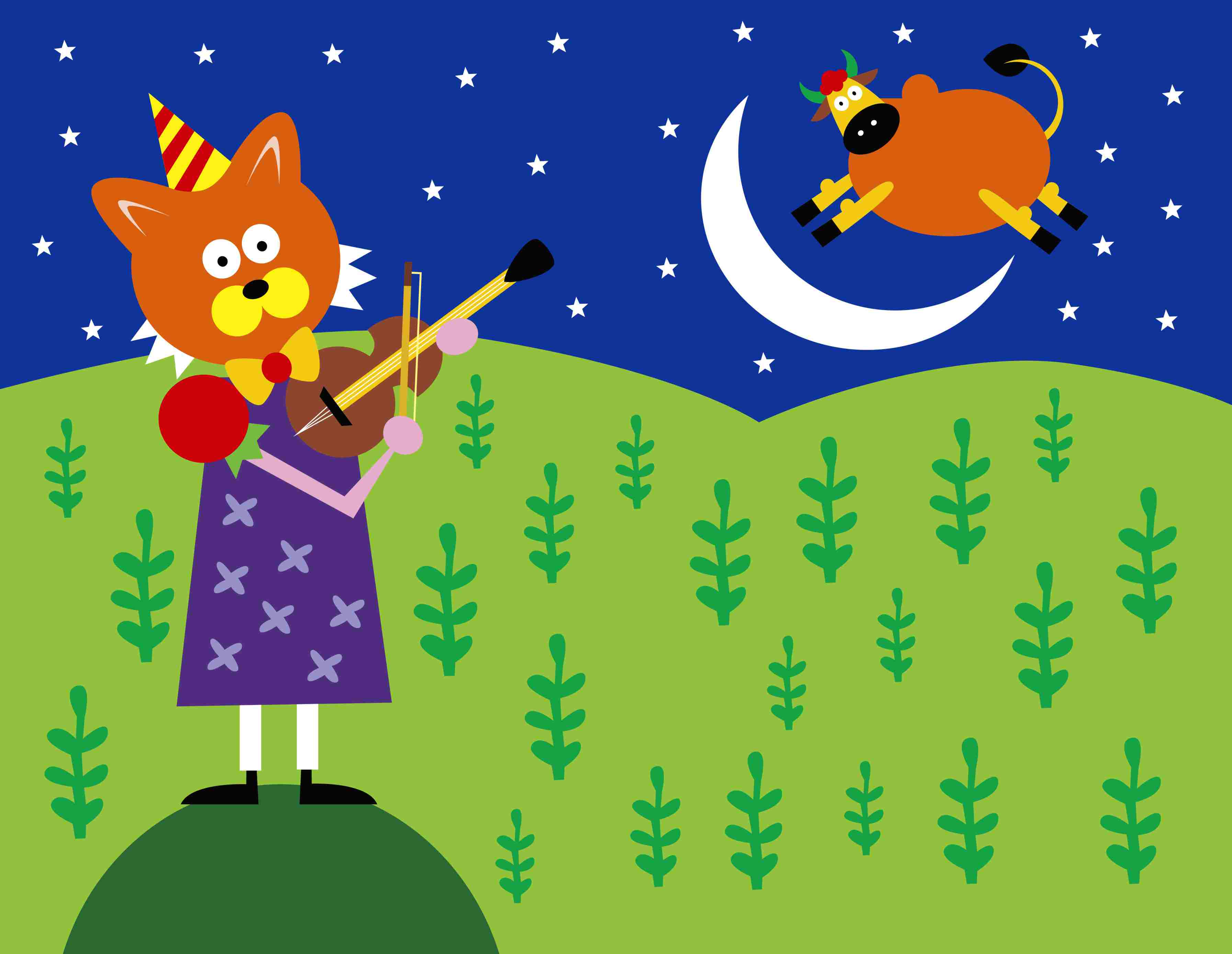 Illustration of a cat playing a violin and a cow jumping over the moon