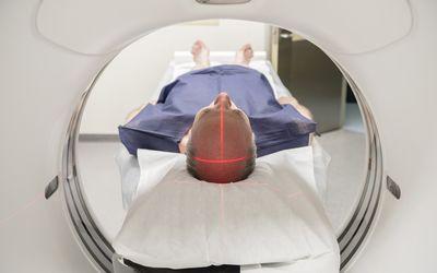 Man receiving MRI to diagnose multiple sclerosis